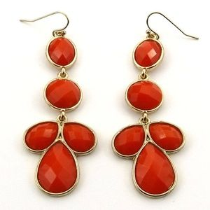 Gold-Tone Red Crystal Dangle Drop Earrings